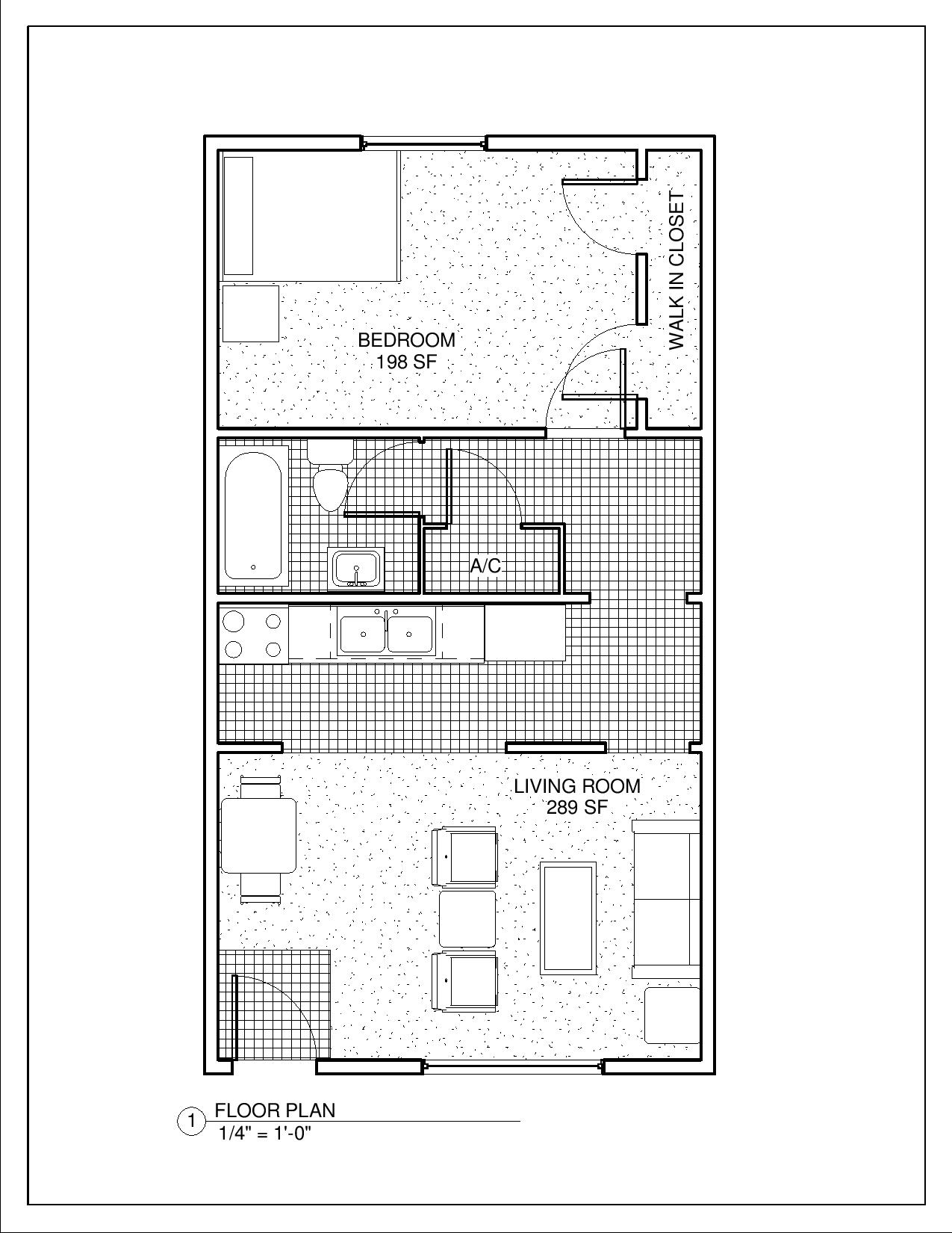 University Pointe Apartments | U.P.ONE BEDROOM 650 SF – Sheet – A101 ...