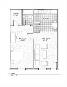 1 Bedroom/1 Bathroom - 720 square feet
