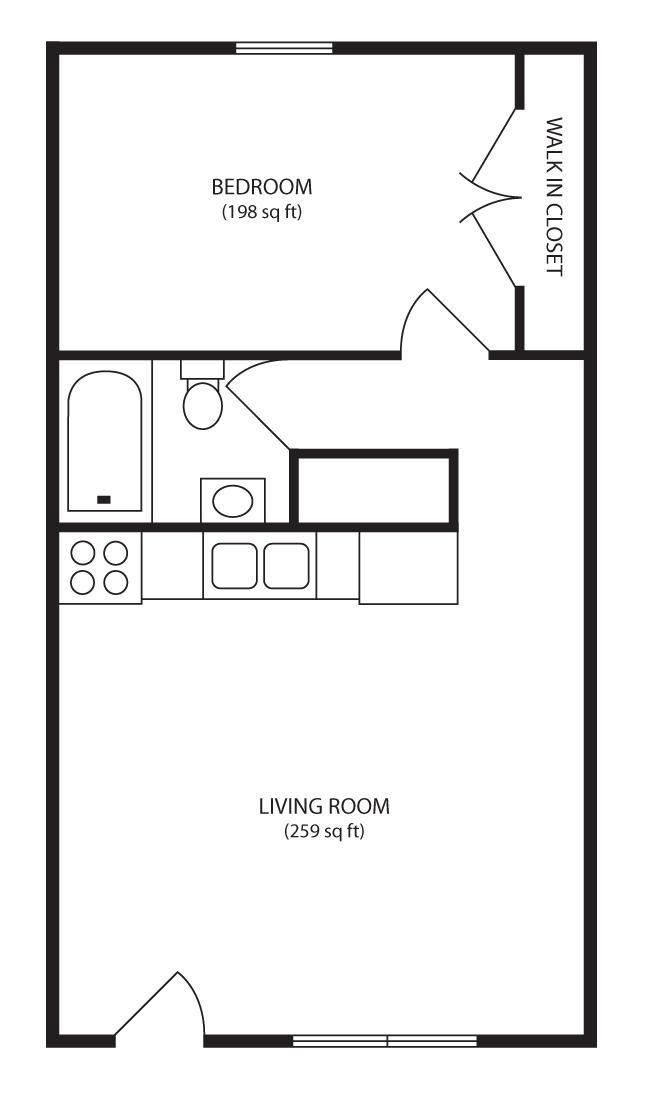 650 Square Feet Apartment Floor Plan